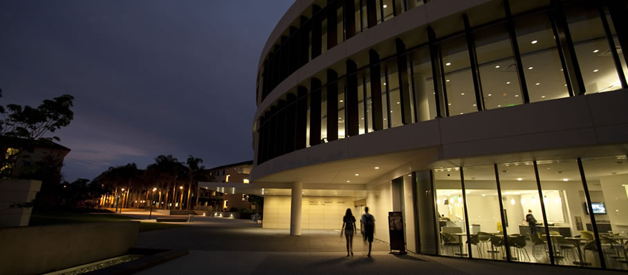 LMU campus at night
